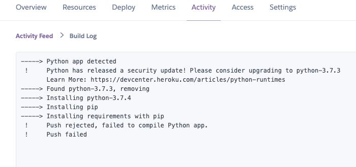 An example of a non-helpful build log on heroku.com